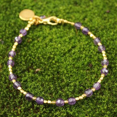 Gold plated amethyst beaded bracelet, 'Divine Deva' - Gold Plated Amethyst Bracelet