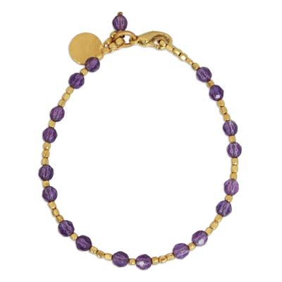 Gold plated amethyst beaded bracelet, 'Divine Deva' - Gold Plated Amethyst Bracelet from Thailand