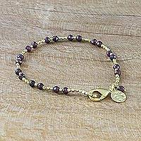 Gold plated garnet beaded bracelet, 'Divine Deva' - Fair Trade Gold Plated Garnet Bracelet