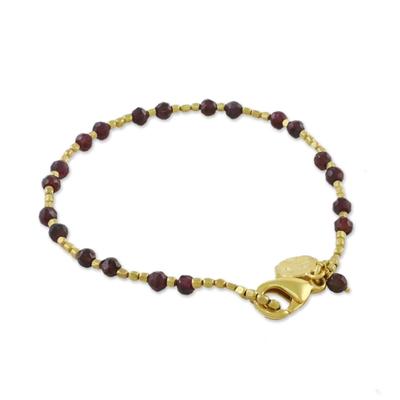 Fair Trade Gold Plated Garnet Bracelet