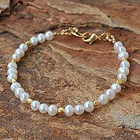 Gold plated cultured pearl beaded bracelet, 'Siam Moons'