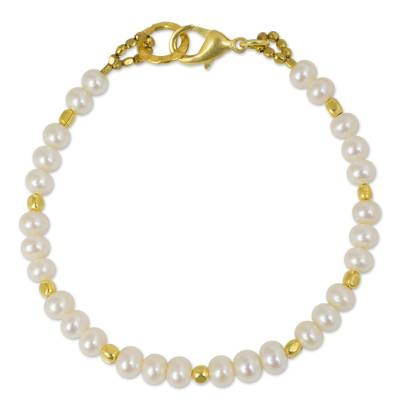 Gold plated cultured pearl beaded bracelet, 'Siam Moons' - Gold Plated Pearl Bracelet