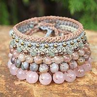 Rose quartz and pink aventurine wristband bracelet, 'Bangkok Rose' - Rose Quartz and Pink Aventurine Beaded Bracelet