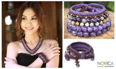 Amethyst and jasper wristband bracelet, 'Bangkok Violet' - Amethyst and Jasper Beaded Bracelet from Thailand