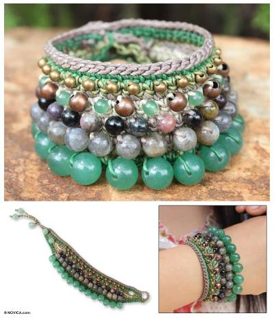 Labradorite and tourmaline wristband bracelet, 'Bangkok Lotus' - Thai Labradorite Beaded Bracelet