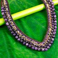 Amethyst beaded necklace, 'Violet Whispers' - Beaded Tourmaline and Amethyst Necklace