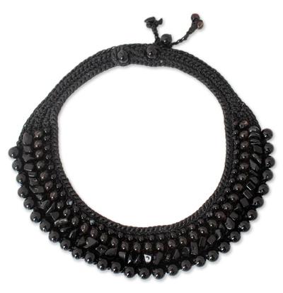 Unique Beaded Agate and Smoky Quartz Necklace