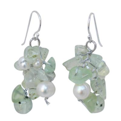 Prehnite and Pearl Dangle Earrings