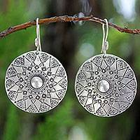 Sterling silver dangle earrings, 'Lampang Moon' - Handmade Sterling Silver Dangle Earrings