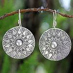 Handmade Sterling Silver Dangle Earrings, 'Lampang Moon'