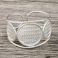 Sterling silver cuff bracelet, 'Rattan Princess' - Hand Made Sterling Silver Cuff Bracelet