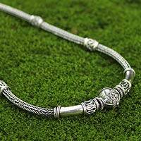 Sterling silver braided necklace, 'Thai Artistry' - Unique Thai Sterling Silver Necklace and Bracelet Set