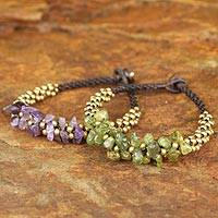 Amethyst and peridot wristband bracelets, 'Lilac Green Orchids' (pair) - Amethyst and Peridot Beaded Bracelets (Pair)