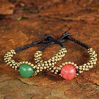 Beaded wristband bracelets, 'Planet Spring' (pair) - Beaded Brass and Quartz Bracelets (Pair)