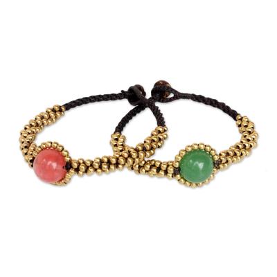 Beaded Brass and Quartz Bracelets (Pair)