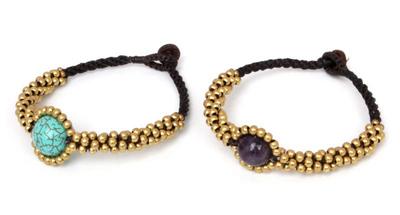 Beaded wristband bracelets, 'Planet Autumn' (pair) - Brass Beaded Bracelets (Pair)