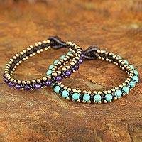 Beaded wristband bracelets, 'Blue Purple Aryuveda' (pair)