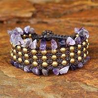 Amethyst wristband bracelet, 'Lanna Dazzle' - Hand Crafted Beaded Amethyst Bracelet