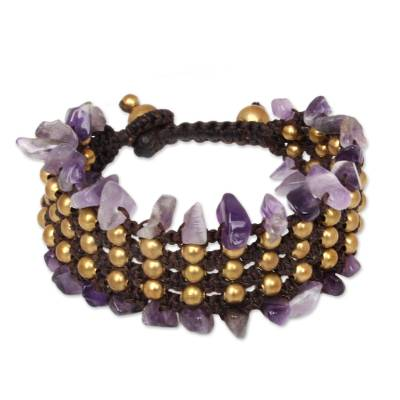 Hand Crafted Beaded Amethyst Bracelet