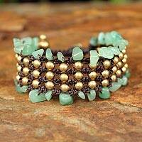 Beaded wristband bracelet, 'Lanna Dazzle' - Brass and Quartz Beaded Bracelet