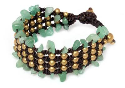 Brass and Quartz Beaded Bracelet