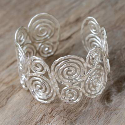 Sterling silver cuff bracelet, 'Tribal Universe' - Thai Sterling Silver Cuff Bracelet