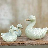 Celadon ceramic figurines, 'Chiang Rai Ducklings' (set of 4) - Celadon Ceramic Figurines (Set of 4)
