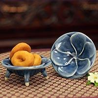 Celadon ceramic canape plates, 'Blue Plumeria' (pair) - Celadon Ceramic Plates from Thailand.