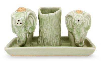 Celadon ceramic condiment set, 'Elephant Soulmates'  - Celadon Ceramic Salt and Pepper Set