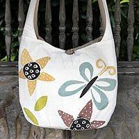 Cotton sling bag, 'Chiang Mai Spring' - Fair Trade Bug and Butterfly Shoulder Bag