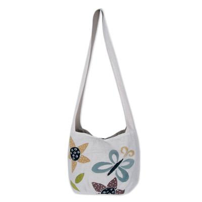Cotton sling bag, 'Chiang Mai Spring' - Handcrafted Floral Cotton Shoulder Bag