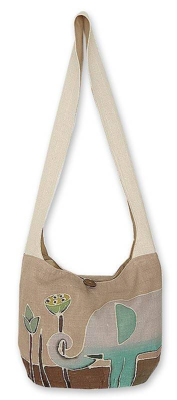 Novica Cotton batik shoulder bag, Gentle Elephant