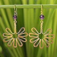 Gold plated amethyst dangle earrings, 'Sunflower' - Gold plated amethyst dangle earrings