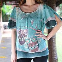 Cotton tunic, 'Owl Adventures' - Hand Painted Women's Top