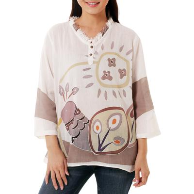 Cotton batik tunic, 'Flirty Peacock' - Batik Cotton Tunic