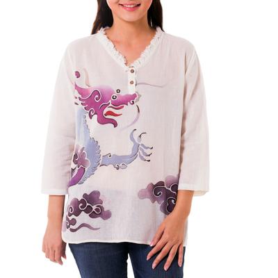 Cotton batik tunic, 'Majestic Naga' - Thai Batik Cotton Tunic