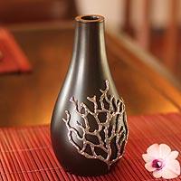 Mango wood and pewter vase, 'Black Coral' - Artisan Crafted Mango Wood Vase