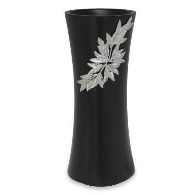 Mango Wood And Pewter Vase Rainforest Bamboo Novica