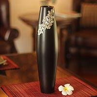 Mango wood and pewter vase, 'Thai Garden' - Handmade Floral Mango Wood Vase