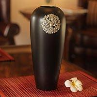 Mango wood and pewter vase, 'Floral Moon' - Floral Embellished Wood and Pewter Vase