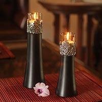 Mango wood and pewter candleholder, 'Summer Clover' (pair) - Handcrafted Mango Wood and Pewter Candleholders (Pair)