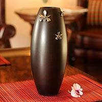Mango wood vase, 'Thai Orchids' - Mango wood vase