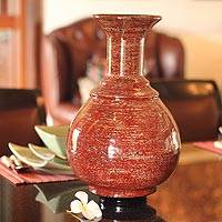 Lacquered bamboo vase, 'Lava Temple' - Lacquered bamboo vase