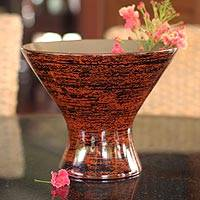 Lacquered bamboo vase, 'Lava Goblet' - Lacquered bamboo vase