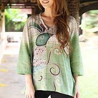Cotton batik tunic, 'Peacock Love'
