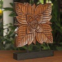 Wood sculpture, 'Sweet Thai Blossom' - Handcrafted Wooden Floral Sculpture