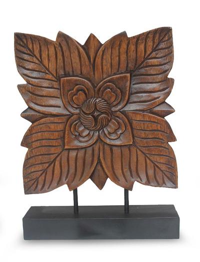 Wood sculpture, 'Sweet Thai Blossom' - Hand Carved Rain Tree Wood Sculpture