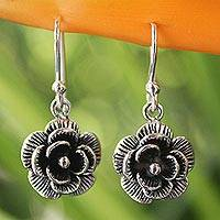 Sterling silver flower earrings, 'Loy Kratong Rose' - Thai Floral Sterling Silver Dangle Earrings