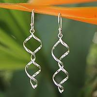 Sterling silver dangle earrings, 'Songkran Joy' - Handmade Sterling Silver Dangle Earrings