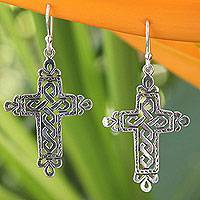 Sterling silver dangle earrings, 'Cross of Legends'
